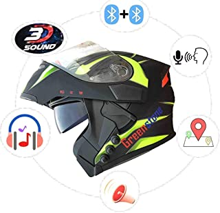 Green Stone G6 Flip-Up Smart Bluetooth Helmet with Voice Assistance Large 600mm