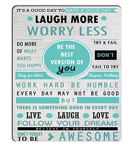Wknoon Mouse Pad Custom Design, Inspirational Quotes Laugh More Worry Less Don't Forget To Be Awesome, 9.5 X 7.9 Inch (240mmX200mmX3mm )