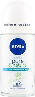 Nivea Desodorante para mujer Roll-On Pure & Natural con ingredientes naturales – 6 paquetes de 50 ml – Total: 300 ml