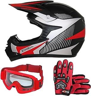 Occhiali Tuta da Motocross per Bambini Leopard LEO-X16 Casco da Motocross per Bambini off-Road ECE 22-05 Approvato Guanti