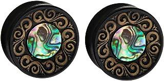 Zaya Body Jewelry Pair Black Wood Organic Shell Hand Carved Ear Plugs Gauges 9/16 5/8 3/4 7/8 1 inch
