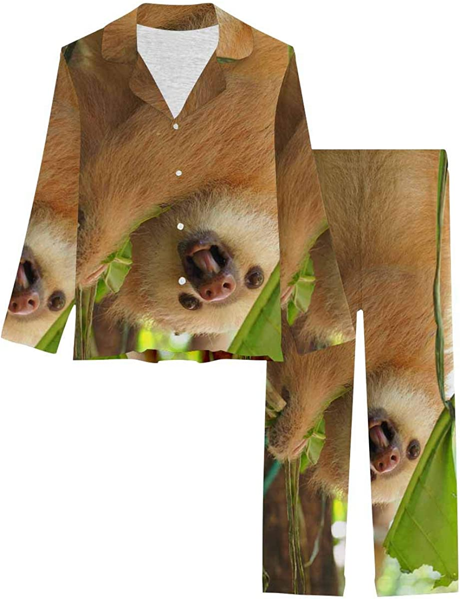 InterestPrint Pajamas Set Ranking TOP12 Long famous Sleeve Button with Loungewear Thr