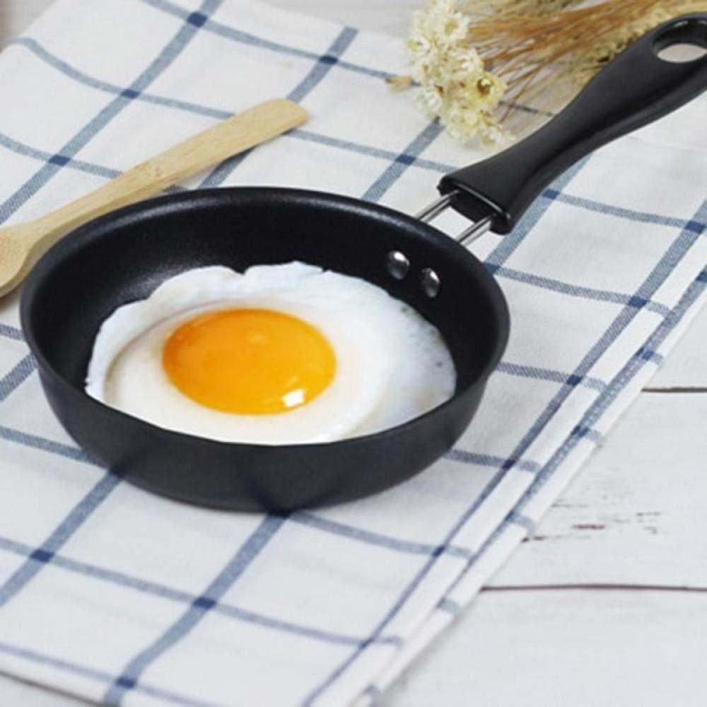 LGFSG Poêle à Frire 12 cm Mini Oeuf poêle à Frire antiadhésive Petit déjeuner Fond Plat poêle crêpière Fer pan Bricolage Cuisine Outil de Cuisson, Noir Noir