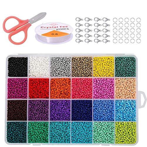 Cuentas de Colores 2mm Mini Cuentas y Abalorios Cristal para DIY Pulseras Collares Bisutería, Regalo Cadena de Cuentas de Fabricación (24 Colores)
