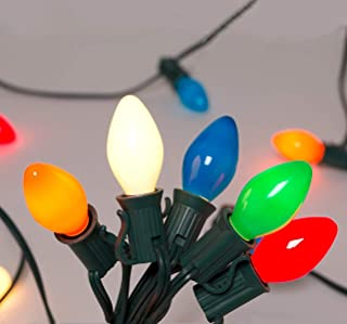 SkrLights 25Ft Christmas Lights C7 Multicolor Ceramic Lights Outdoor and Indoor String Light for Holidays,Christmas, Prom, Party, Wedding, 25 Ceramic Bulbs C7 Light (Plus 2 Extra Bulbs), Green Wire