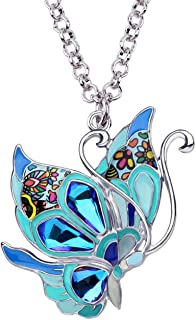 BONSNY Statement Enamel Rhinestone Butterfly Necklaces Pendant Original Design for Women Nature Lover Insect Jewelry