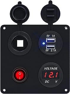 TR Turn Raise Impermeable USB Cargador + Voltímetro Digital LED + Interruptor + Encendedor de Cigarrillos para Coche Barco.