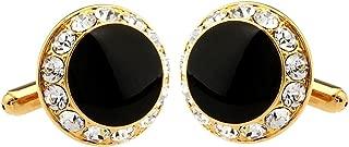 Luxury Exquisite Classy Round Black Rhinestone Crystal Cufflinks Men's Daily Use Bullet Cufflinks