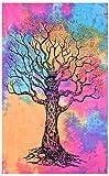 MY DREAM CARTS - Tapiz para Colgar en la Pared (algodón, 101 x 76 cm), diseño de árbol de la Vida