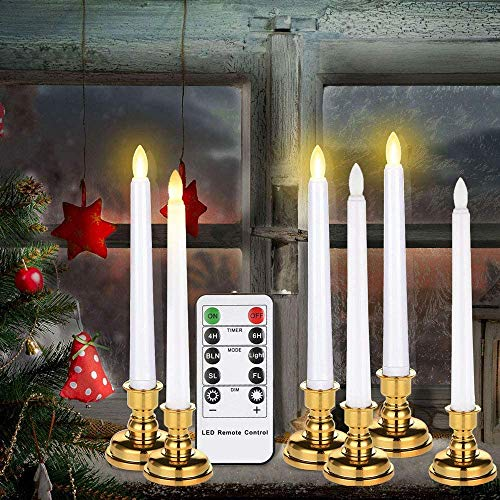 7.9 Inch Flameless Taper Window Candles with Remote Timers, 6 Packs Battery Operated Led Flickering Electric Candles with Realistic Flame Warm Lights for Home Party Holiday Christmas Decorations