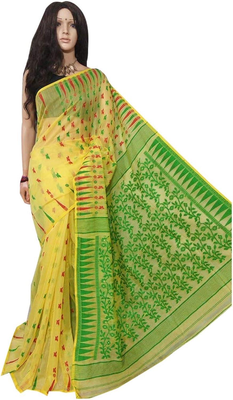 Indian Ethnic Multicoloured Linen Jamdani Saree Designer Collection Women Stylish Party Formal Wear 117a