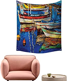 alsohome Tapestry Blanket Hanging Tapestry for Bedroom Mod Folk Art Style Paint of Boats On The Shore at Golden Sunset 54