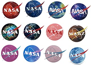 NASA Stickers for Laptop Stickers Car Cartoon Water Bottle Vinyl Waterproof Cars Motorcycle Bicycle Skateboard Luggage Bumper Bomb Decal{12pcs}