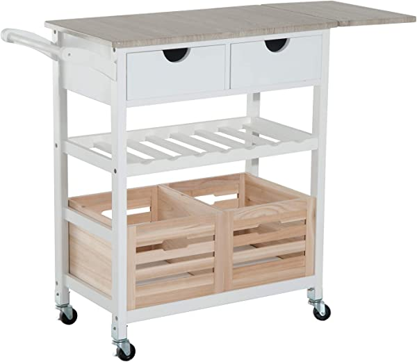 HomCom 34 Rolling Drop Leaf Kitchen Trolley Serving Cart With Wine Rack White Bamboo