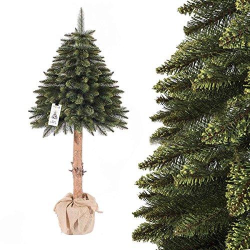 FairyTrees Weihnachtsbaum künstlich im Topf FICHTE NATURSTAMM, Grün, Material PVC, Baumstamm aus echtem Holz, 150cm