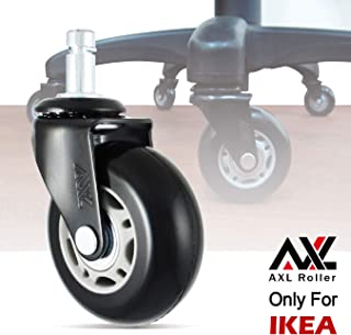 AXL 2.5 Inch IKEA Office Caster Wheels with Bevel Feet for Desk Chairs, PU Rollerblade Style casters, Replacement Wheels, Safe for All Hardwood Floors (Grey/Black)