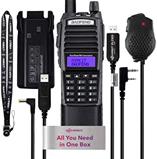 Mirkit Ham Radio Baofeng UV-82 2021 Dual Band Two Way Radio 2800 mAh Battery (1 Pcs UV-82 MK5 8W + Fullhouse Accessories Kit for UV-82 with 3800 Battery, Speaker Mic, Programm and Charger Cable)