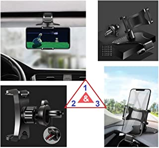 DFV mobile - 3 in 1 Car GPS Smartphone Holder: Dashboard/Visor Clamp + AC Grid Clip for Maze Alpha - Black