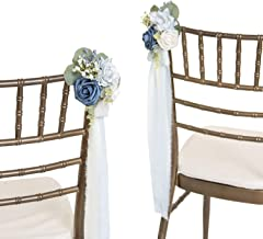 Ling's moment Dreamy Floral Decoration for Wedding Chair/Church Aisle/Pew Bows with Chiffon Tail Set of 8