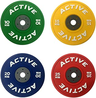 Active Bumper Plate Drink Coaster Set (4 Pack) - for Fitness, Weightlifting, WOD Athletes