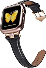 JSGJMY Slim Leather Bands Compatible with Apple Watch 38mm 40mm 42mm 44mm Women Top Grain Leather Strap with Diamond Rhinestone for iWatch Series 5/4/3/2/1 (Black/Rose Gold, 42mm/44mm)
