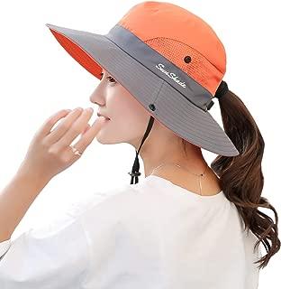 Muryobao Women's Outdoor UV Protection Foldable Mesh Wide Brim Beach Fishing Hat