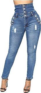HINK Pantalones de Talla Grande, Pantalones Pitillo de Cintura Alta de Elasticidad para Mujer, Pantalones Vaqueros, Todo f...