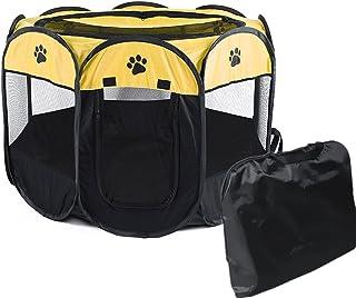 BeneBomoペットフェンス 犬用ケージ 猫用ケージ 折りたたみ八角形ペットサークル ペットテントハウス アウトドア ペットプレイサークル コンパクト 出産用品猫/犬 通気性 軽量 キャリーバッグ付き (グリーンS)