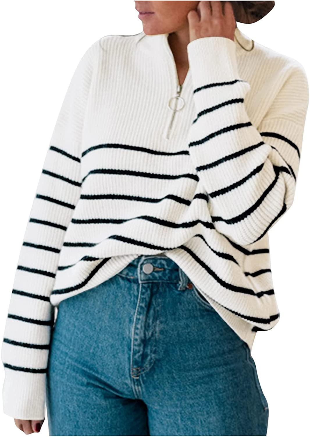 Women's Crewneck Stripe Pullover Sweaters Casual Loose Long Sleeve 1/4 Zip Up Cardigan Tops Color Matching Shirts