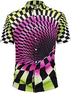 CATERTO Men's Tropical Hawaiian Shirt Magical Cool Casual Button Down Short Sleeve Shirt