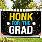 XtraLarge Honk For The Grad Graduation Banner - Graduation Decorations 2021 Blue and Yellow   Congratulations Graduate for Class of 2021 Decorations   Graduation Decor, Graduation Car Decorations 2021