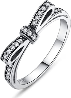 BAMOER 925 Sterling Silver CZ Gemstone Bow Promise Ring Infinity Romantic Love Jewelry for Women Teen Girls Stack Ring Size 6-9