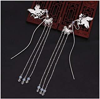 LUKEEXIN 1 Pair Tassel Beads Hair Stick Chopsticks Alloy Hairpin Ancient Chinese Style Hair Accessories (Color : Silver)