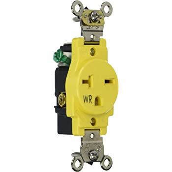 Leviton W5461 Y Single Receptacle Outlet Weather Resistant 20 Amp 250 Volt Heavy Duty Industrial Specification Grade Back Or Side Wire Self Grounding Yellow Amazon Com