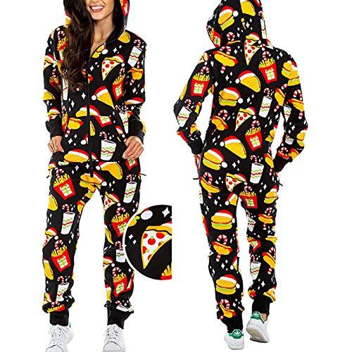 LEYUANA Pijamas con Capucha de Manga Larga para Mujer, Pijamas de Unicornio de Navidad para Adultos, Pijamas de Animales de una Pieza, Comida XXL