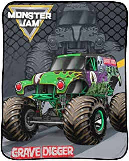 Monster Jam Slash Throw - Measures 46 x 60 inches, Kids Bedding Features Grave Digger - Fade Resistant Super Soft Fleece - (Official Monster Jam Product)