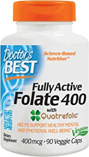 Doctor's Best Fully Active Folate with Quatrefolic, Non-GMO, Vegan, Gluten Free, 400 mcg, 90 Veggie Caps