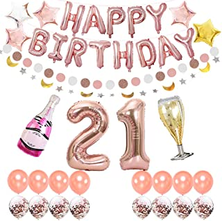 LOCCA 21st Birthday Decorations for Her Girl, Rose Gold Party Decorations Supplies Kit, Includes 21st Birthday Balloon, Happy Birthday Banner, Champagne Balloon for Finally Legal 21 Birthday Party
