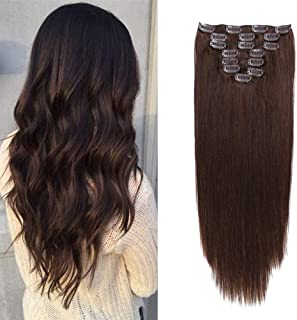 100g Double Wefts Human Hair Clip in Extensions Dark Brown Grade 8A Quality Full Head Thickened Long Soft Silky Straight 8pcs 17clips for Women