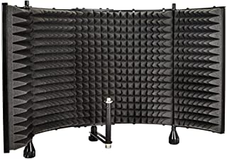 Monoprice Microphone Isolation Shield - Black - Foldable With 3/8