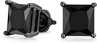 Black Square AAA CZ Solitaire Brilliant Princess Cut Stud Earrings For Women For Men Screwback More Sizes