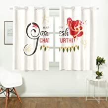 WIEDLKL Bedroom Room Darkening Curtains Creative Hand Lettering Text God Ganesha Design Blackout Curtains Full Blackout Curtains for Cafe Bath Laundry Living Room 26x39inch 2pieces