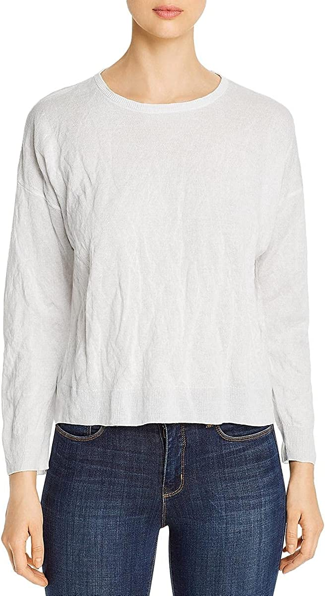 Eileen Fisher Womens Crew Neck Ribbed Sweater