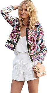 Womens Coats Winter Women Floral Printed Short Jacket Long Sleeve Outerwear Fashion Coats Sexy Coats
