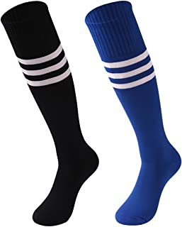 Performance Knee High Socks, Socks Daze Mens Womens Fashion Breathable Long Tube Comfort Footbal Sports Socks 2 Pairs Black Blue