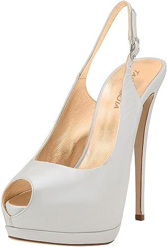 XUE Chaussures pour Femmes PU Confort d'été Sandales Chaussures de Marche Talon Stiletto Pointu Talon de Mariage fête et soirée Robe de Base Pompe Formel d'affaires de Travail de Mariage