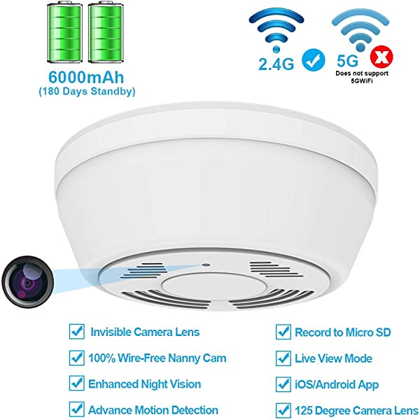 Hidden Camera Smoke Detector WiFi FUVISION Motion Activated Nanny Camera With 180 Days Battery Power Remote Internet Access Night Vision SD Card Slot Bottom View Covert Camera Lens For Home Security