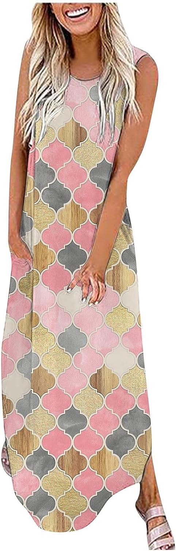 Assletes Dress for Women Casual,O-Neck Sleeveless Printed Dress Summer Tank Long Loose Dress Skirt