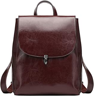 Women's Leather Backpack Casual Style Flap Backpacks Daypack for Ladies (Coffee)