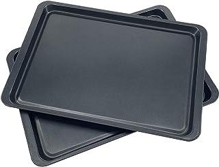 Lot de 2 Plaque de Cuisson Antiadhésive Plaques à Pâtisserie Rectangulaire pour Four et Grill